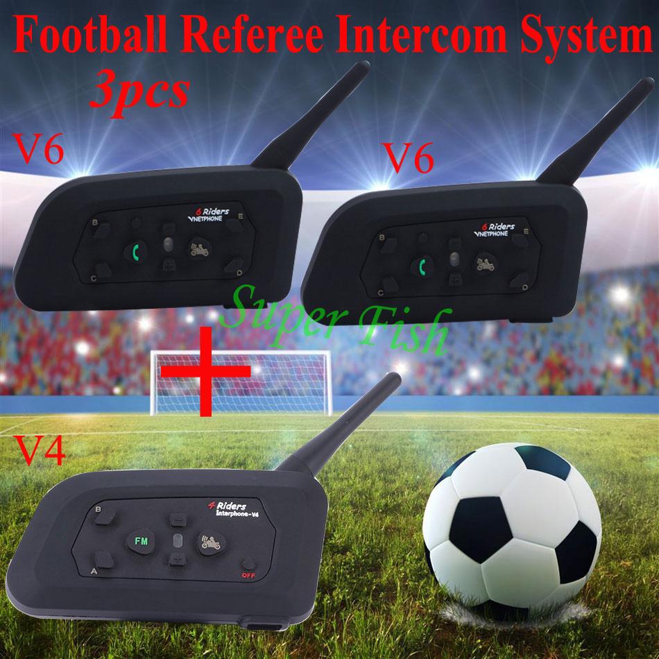 Vnetphone Arbitro di Sistema di Interfono Bluetooth Arbitri di Calcio Arbitro di Comunicazione Auricolare Interphone FM