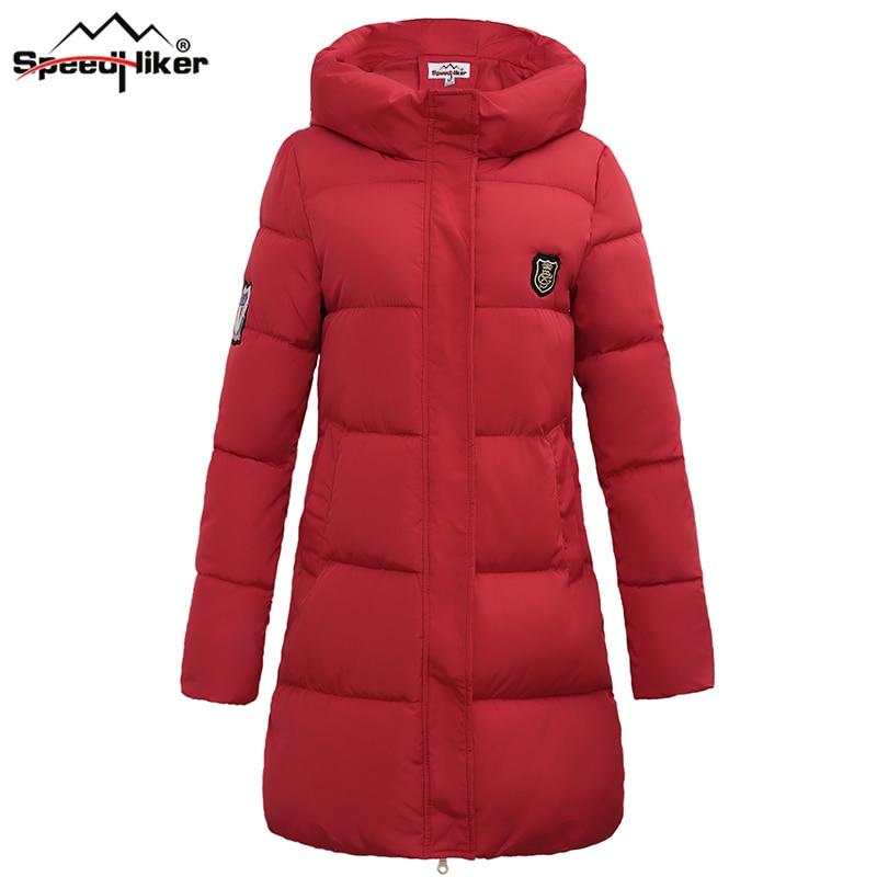 Velocidad Caminante  de las Nuevas mujeres de invierno chaqueta de algodón acolchado escudo Causal Sólido espesar caliente con capucha medio-largo rosa blanco YLY807