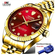 лучшая цена New TEVISE Automatic Watch Men Luxury Gold Mechanical Watches Waterproof Casual stainless Steel Mens Wristwatch saat erkekler