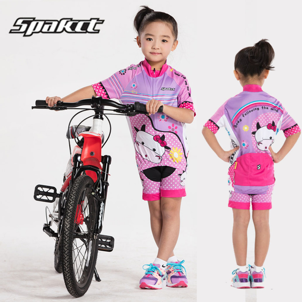 SPACKT Girls Cycling Jersey Sets Summer Kids Outdoor Road MTB Bicycle Jersey Breathable Children's Short Sleeve Clothing Shorts cheji 2017 child short sleeve cycling clothing bike jersey shorts sets ciclismo boys girls team bicycle kids mtb shirts suits