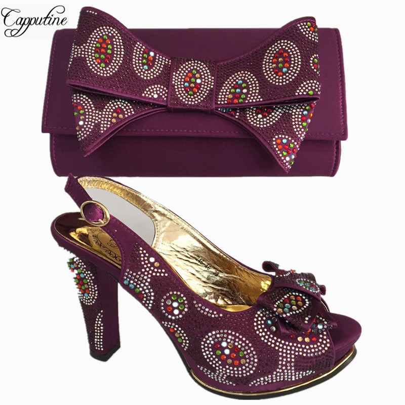 Capputine Wholesale Fashion Purple Color Shoes And Bag Set For Parties Italian High Heels Shoes And Bag Set Size 38-42 BL675C capputine new arrival fashion shoes and bag set high quality italian style woman high heels shoes and bags set for wedding party