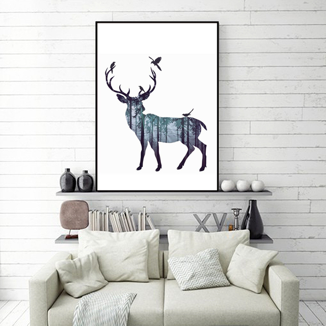 Abstrakte Wandbilder Deer Wald Vogel Nordic Natrliche Wohnzimmer Kunst Dekoration Bild Skandinavischen Leinwand Malerei Kein Rahmen