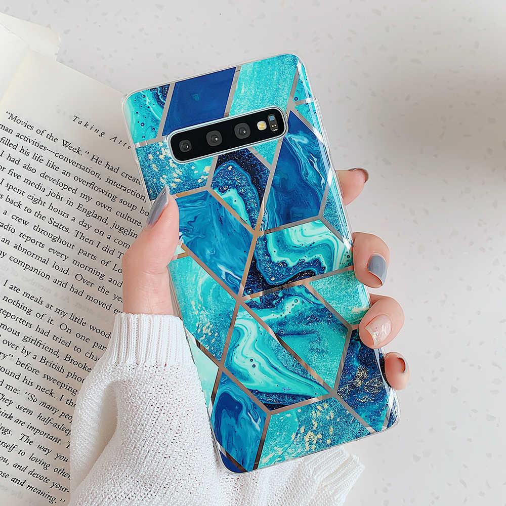 Sanatsal Geometrik Mermer Doku Telefon Kılıfları Samsung Galaxy A50 A40 A70 S10 Artı S10e Elektroliz Yumuşak arka kapak