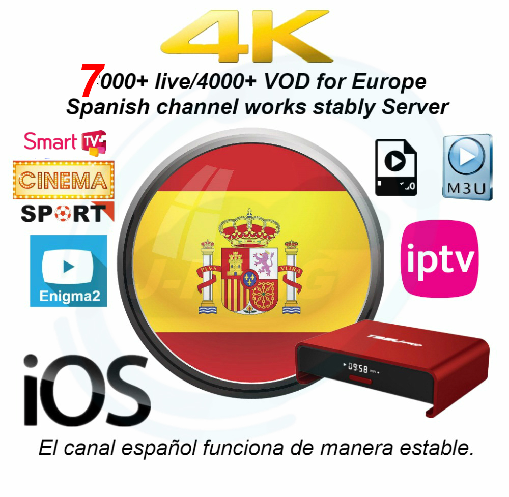Spain IPTV Spanish Channel M3u Abonnement Iptv UK Duits Frans Spaans Mediaset Smart Moviestar Voor Android Box PC Champion Dazn