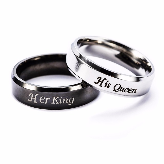 Stainless Steel Lover Rings Her King And His Queen Silver Black Wedding Engagement