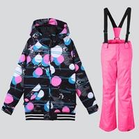 2018 Gsou Snow winter ski suit for girls colorful snowboard jacket kids snowboard suit for children warm skiwear waterproof