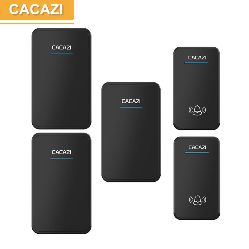 CACAZI 2 waterproof buttons+3 receivers AC 100-220V wireless doorbell EU US UK plug door ring 48 ringtones 6 volume door chime cacazi ac 110 220v wireless doorbell 1 transmitter 6 receivers eu us uk plug 300m remote door bell 3 volume 38 rings door chime