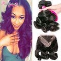 8A Loose Wave Wavy Hair With 360 Frontal 4 Bundles Loose Curly Malaysian Virgin Hair Bundles With 360 Lace Frontal Closure Weave