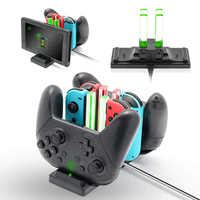 Base de carga de controlador para NintendoSwitch 6 en 1 estación de carga para interruptores Nintend y controladores Pro