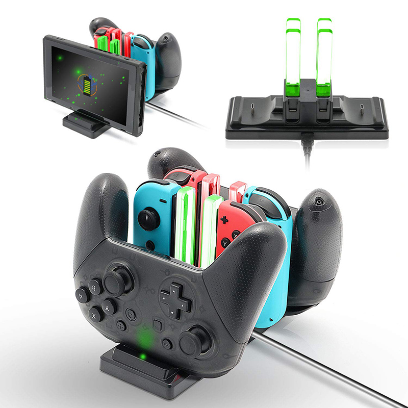 Controlador de Estação de Carregamento Suporte de Carregador Dock para NintendoSwitch 6 em 1 para Nintend Interruptor Alegria-Con e Pro Controladores