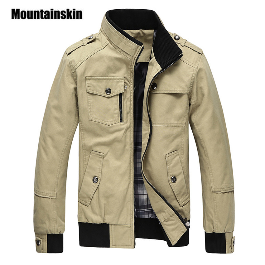 Mountainskin Casual Men's Jacket Spring Army Military Jacket Men Coats Winter Male Outerwear Autumn Overcoat Khaki 4XL EDA085