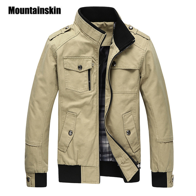 d288f35ffa3 Mountainskin Casual Men's Jacket Spring Army Military Jacket Men Coats  Winter Male Outerwear Autumn Overcoat Khaki 5XL EDA085