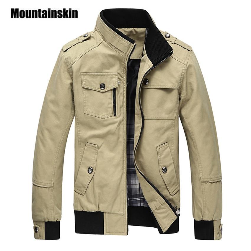 Mountainskin casuales de los hombres chaqueta primavera ejército militar chaqueta hombres chaqueta abrigos de invierno hombre prendas de vestir exteriores otoño abrigo caqui 5XL EDA085
