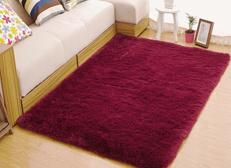 Living Room Carpet European Fluffy Mat Kids Room Rug Bedroom Mat Antiskid Soft Faux Fur Area Rug Rectangle Mats Gray Red Green 17