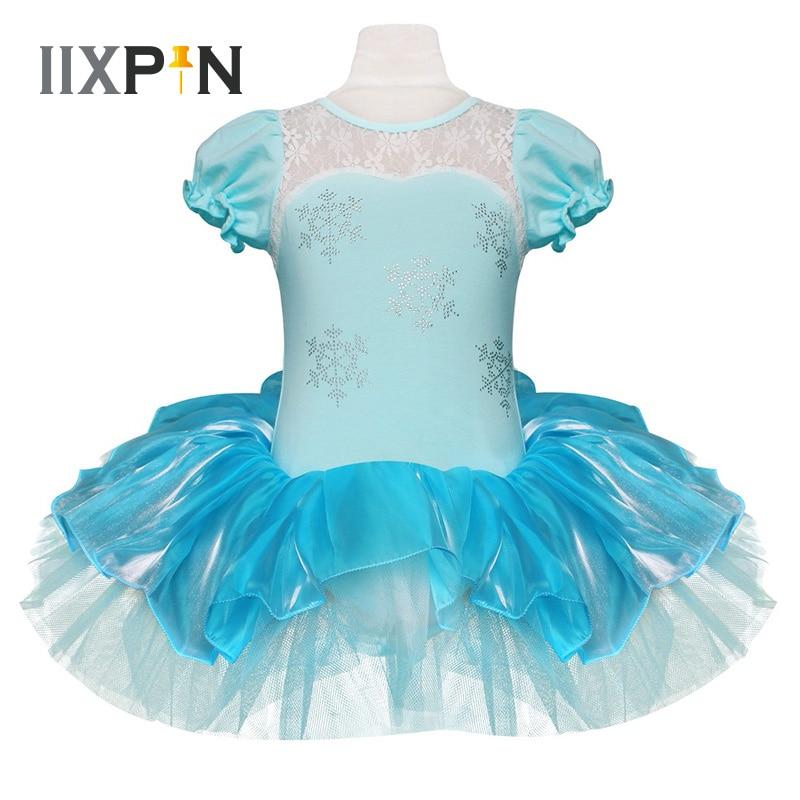 IIXPIN Kids Girls Elsa Princess Ballet Tutu Dress Snowflake Tutu Dancewear Party Dress For Girls leotards ballerina Elsa DressBallet   -