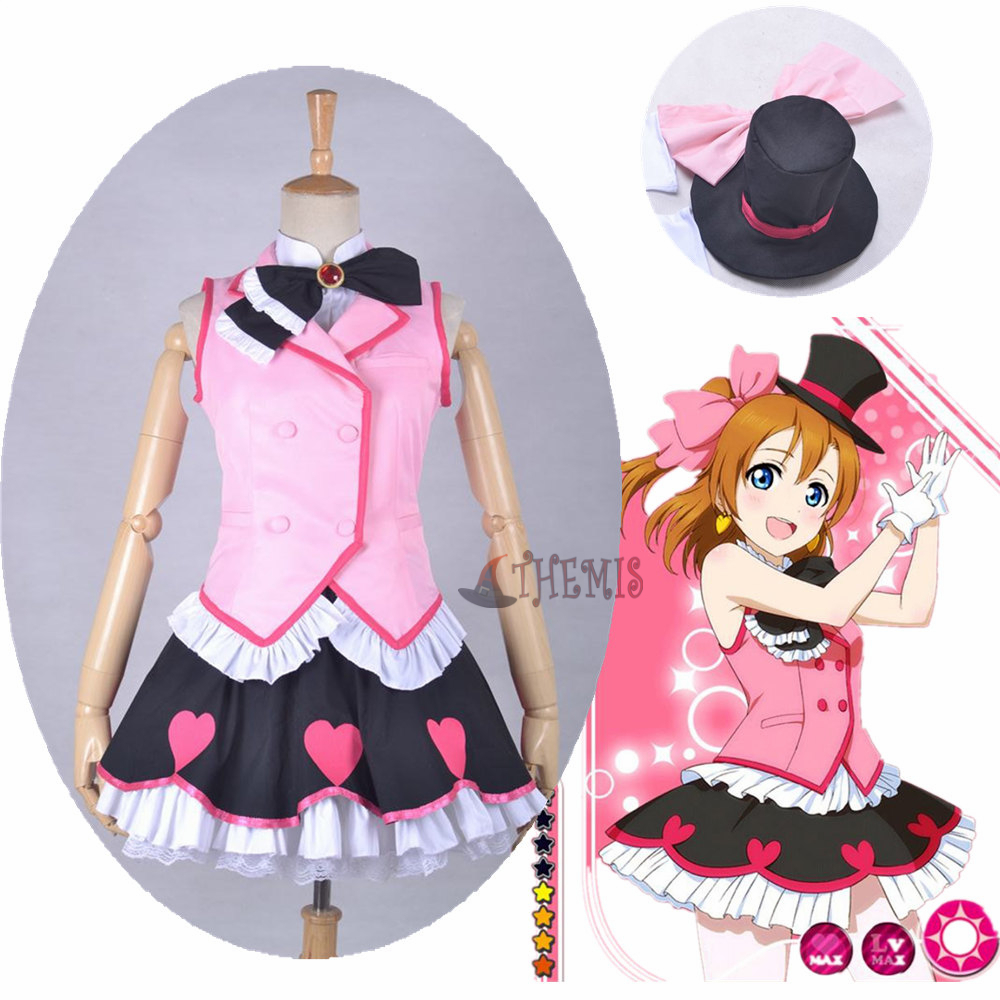 Athemis Halloween lovelive Kousaka Honoka cosplay costumes hat t-suit pleated  mini skirt dress custom made