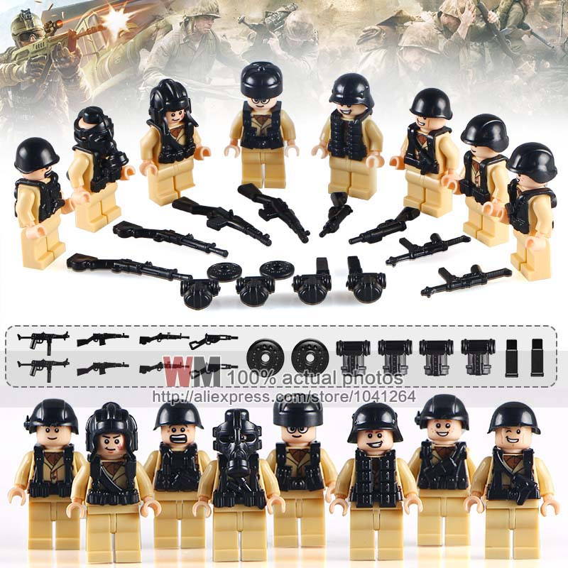 10Lots of WM1015 World War II Swat and Military Soliders with Weapon Guns Building Block New