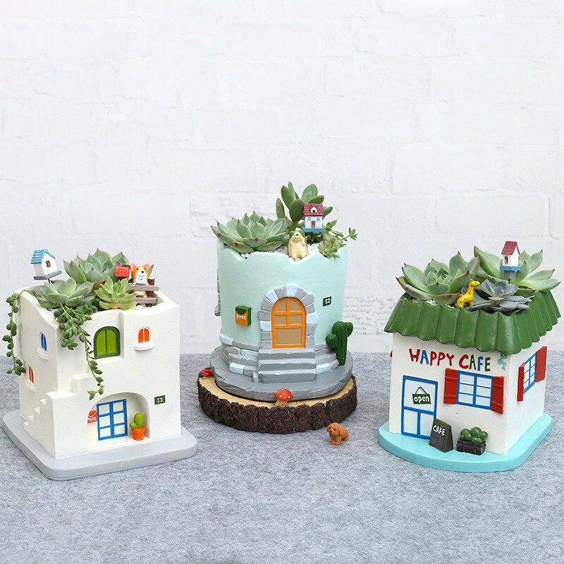 1 pc Pot de fleurs style méditerranéen résine café maison jardinière Pot plante succulente Pot décor maison Pot de jardin