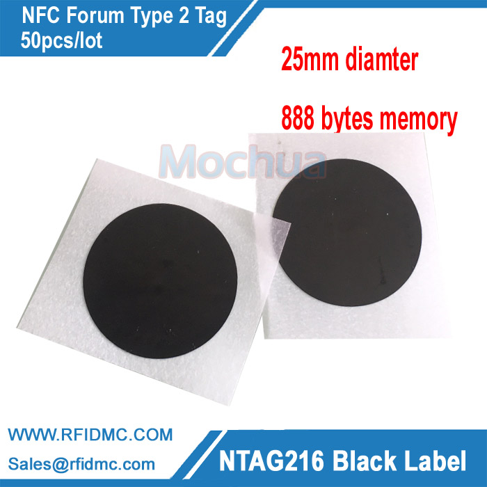 Black NFC NTAG216 Label Sticker Tag Protocol ISO14443A 888 Bytes 25mm Diameter For All NFC Phones 4pcs lot nfc tag sticker 13 56mhz iso14443a ntag 213 nfc sticker universal lable rfid tag for all nfc enabled phones dia 30mm