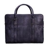 ROCKCOW Vintage Vegetable Tanned Leather Briefcase Men Messenger Bag Laptop Bag 9043