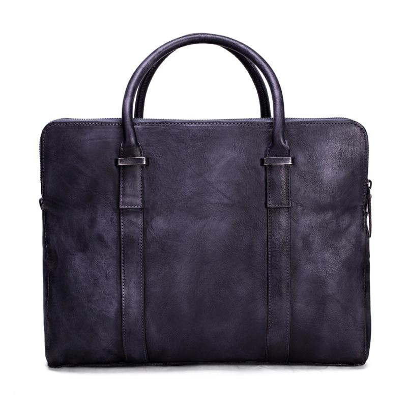 ROCKCOW Vintage Vegetable Tanned Leather Briefcase, Men Messenger Bag, Laptop Bag Dropshipping 9043