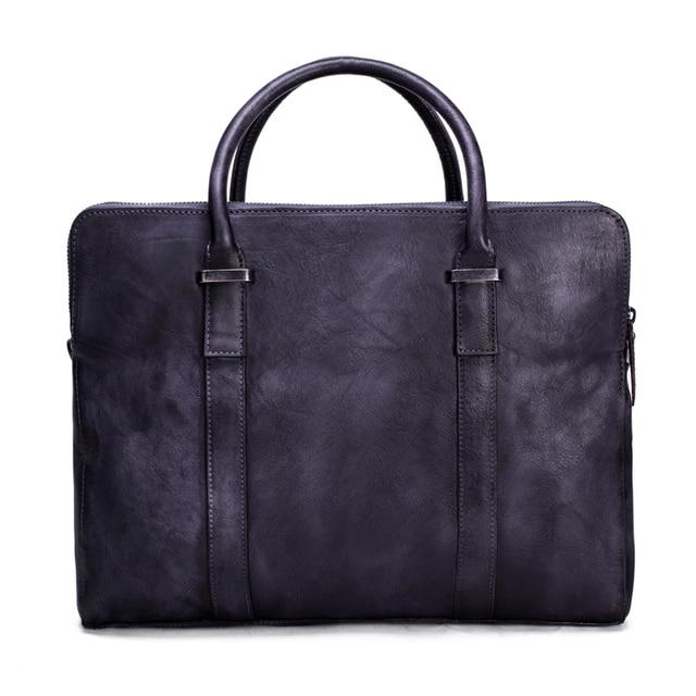 Rockcow Vintage Vegetable Tanned Leather Briefcase Men Messenger Bag Laptop Dropshipping 9043