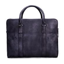 ROCKCOW Vintage Vegetable Tanned Leather Briefcase, Men Messenger Bag, Laptop Bag 9043