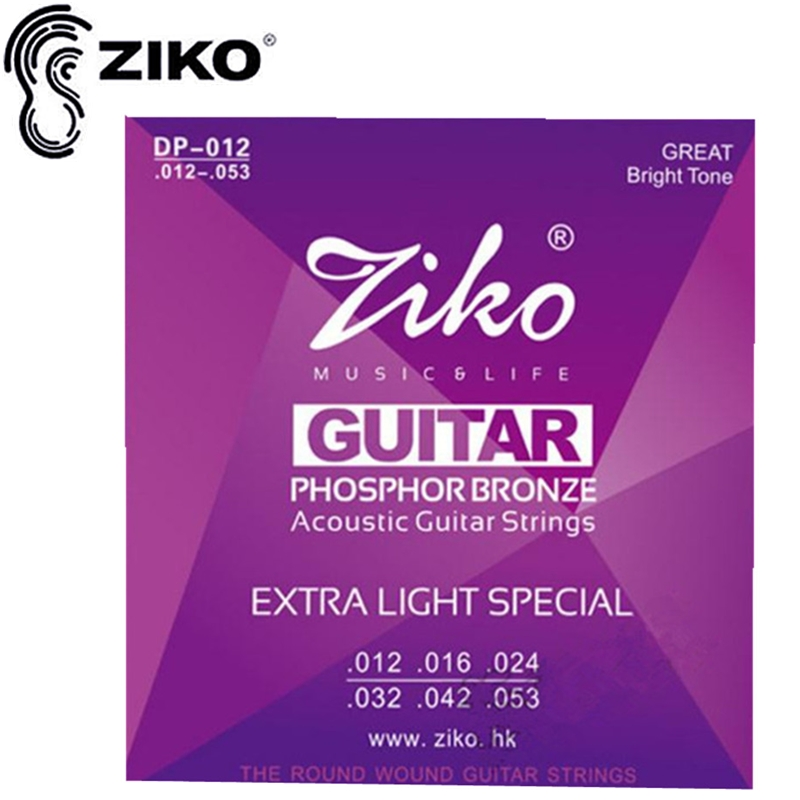 Original ZIKO 012-053 DP-012 Acoustic guitar strings guitar parts PHOSPHOR BRONZE musical instruments Accessories package sales 012 053 acoustic guitar string guitarra strings and tcm string cleaner strings conditioner package free shipping