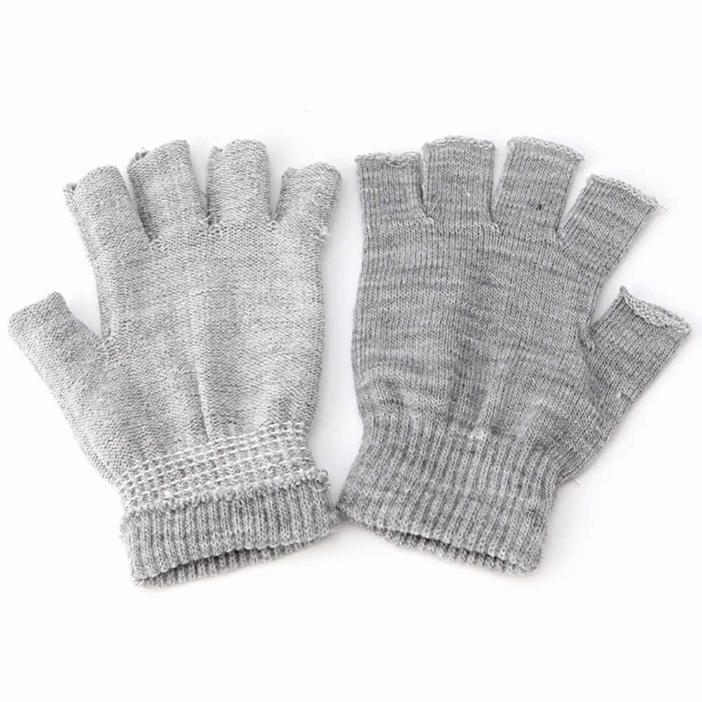 新 1 ペアストレッチニット手袋男性女性指なし冬ウォーマーミトングレー/ピンク/ベージュ/ロイヤルブルードロップ船