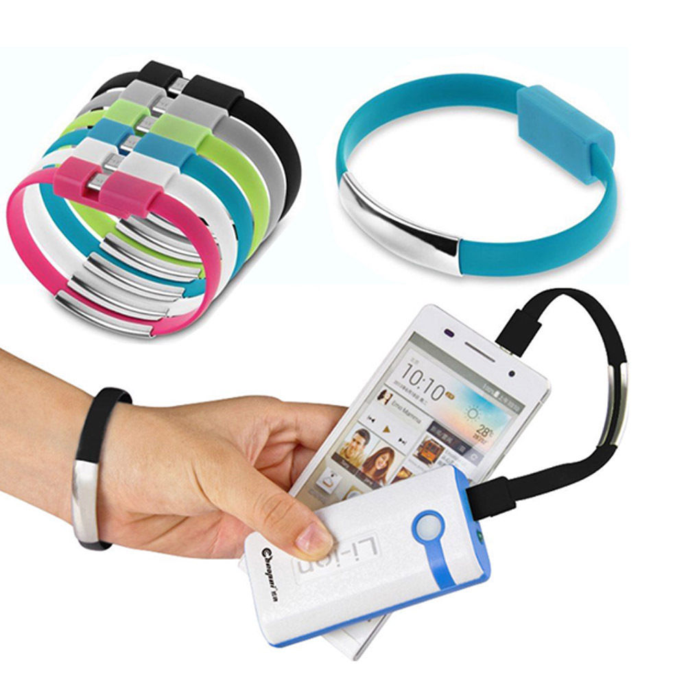 Newest Portable Bracelet Mobile Phone Cables Micro USB Data Cable Charging For Samsung HTC Android Cell Phone