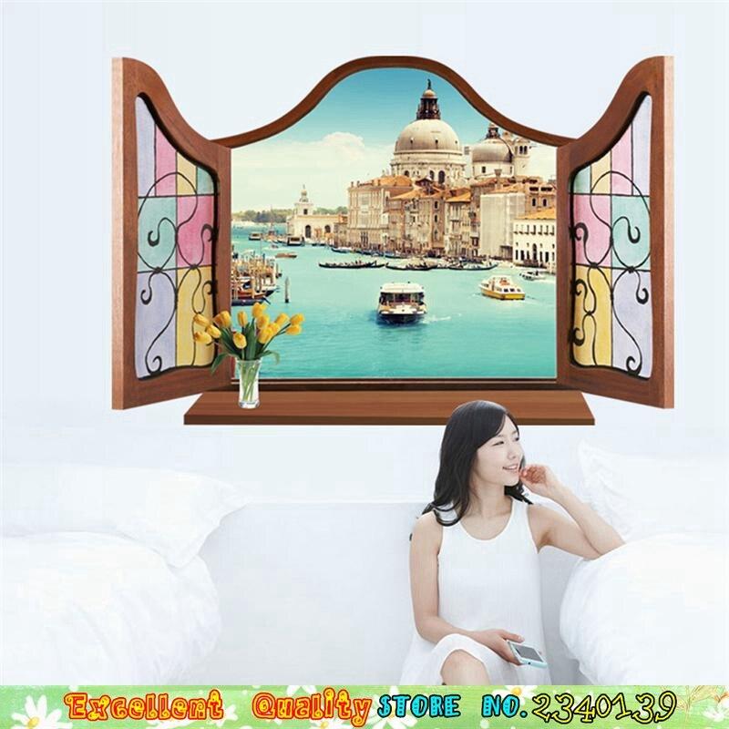 4 Designs 3D Windows Tourist Websites Eiffelturm Venedig Wand Aufkleber Diy  Home Wandmalerei Dekoration Schlafzimmer Pvc Wand Aufkleber In 4 Designs 3D  ...