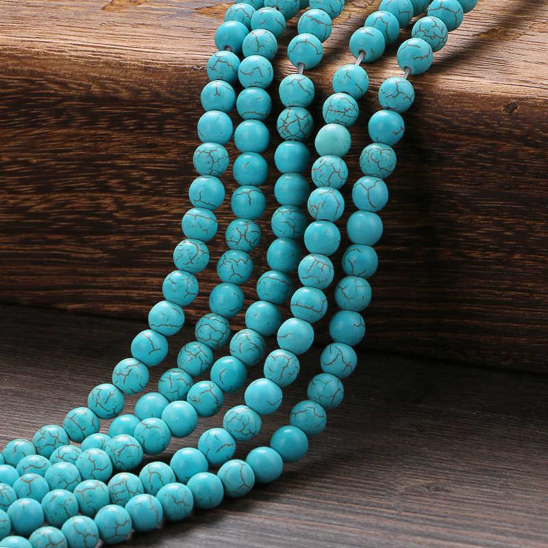 حجر الفيروز الأزرق الطبيعي خرز مستدير 4 6 8 10 12 مللي متر حجم اختيار لصنع المجوهرات خرز ذاتي الصنع بالجملة