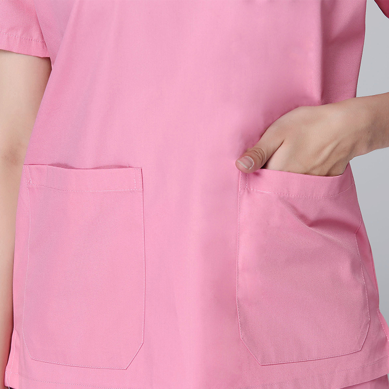 2018 Pet Hospital Doctor Pink Scrub Women Medical Clinic V Neck Workwear Operation Uniform Free Shipping Nurse Scrub Sets