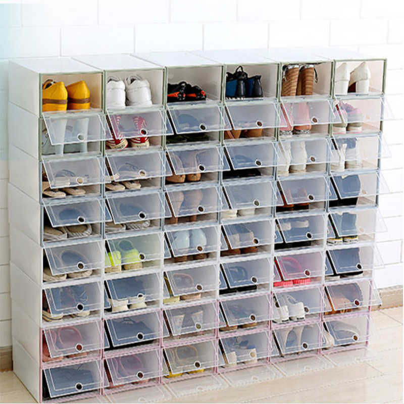12pcs flip shoes transparent Drawer Case Plastic Shoe Boxes Stackable storage box shoe organizer