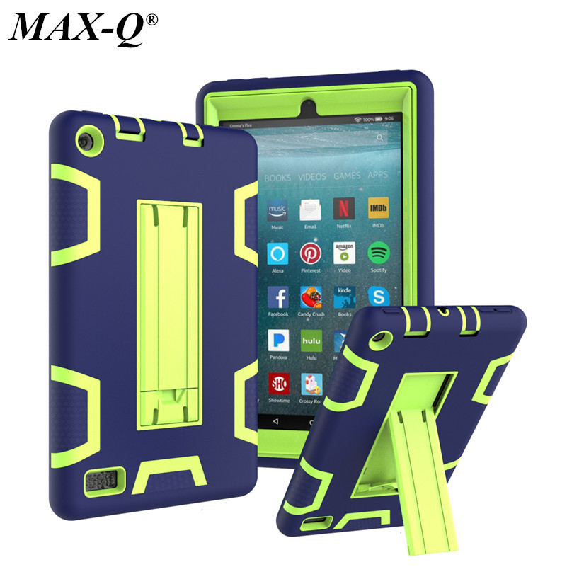 Kindle Fire 7 2017 Version Case Kids Safe Armor Shockproof Heavy Duty Silicone PC Kicktand Cover For Amazon Kindle Fire 7 inch