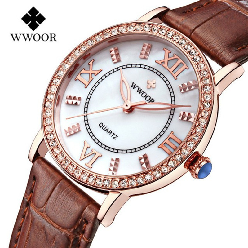 Popular Women Watches Brand Luxury Leather reloj mujer Rose Gold Clock Ladies Casual Quartz Watch Women Dress Watch montre femme 2016 julius brand quartz watches women clock gold square leather bracelet casual fashion watch ladies reloj mujer montre femme