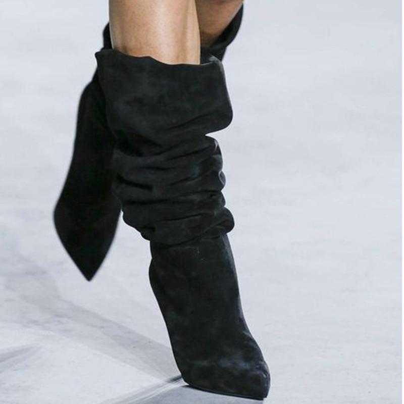 Зимние женские ботинки; женская обувь с острым носком на шпильках; модная однотонная обувь со складками из замши для подиума; пикантные боти... - 3