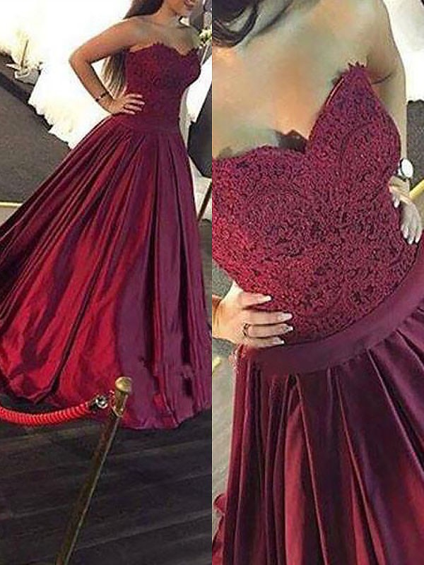 Burgundy Satin Ball Gowns   Prom     Dresses   2019 for Women with Lace Beaded Floor Length Real Life Sexy Corset Long Vestido De Festa