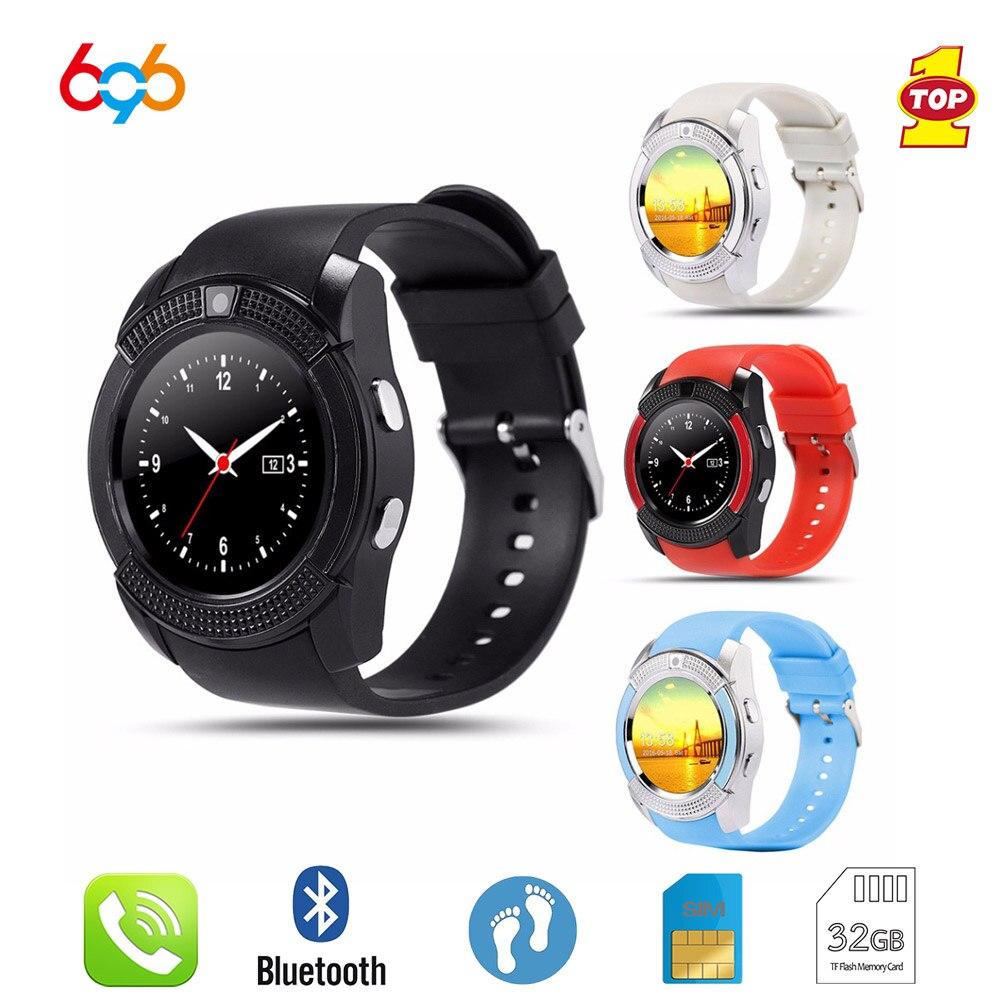 696 relógio inteligente v8 bluetooth vida à prova dwaterproof água smartwatch tela de toque relógio de pulso com câmera/slot para cartão sim mtk6261d relógio