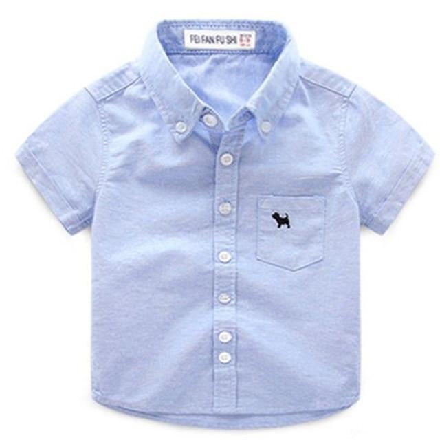 3f167f06f3d44 2018 bébé garçon vêtements solide garçons chemises manches courtes enfant  vêtements rose bleu chemise chien coton