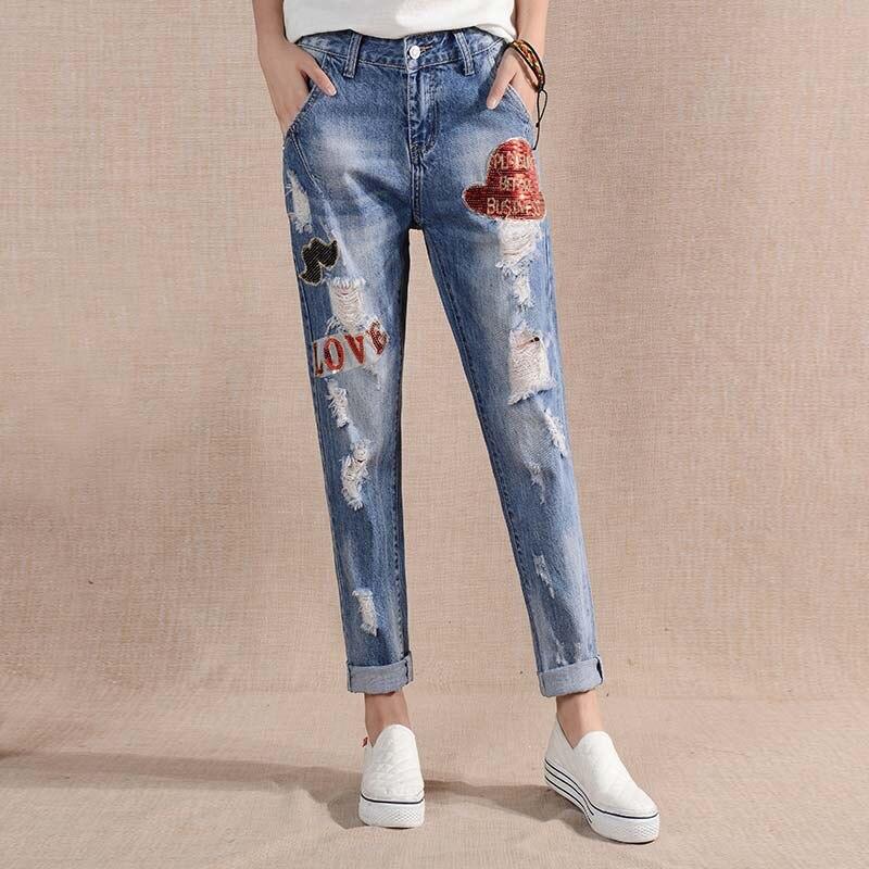 ФОТО 2017 Spring Women Pants Softener Pockets Patchwork Hole Jeans Pants For Women Hole Vintage Women Denim Pencil Pants M043