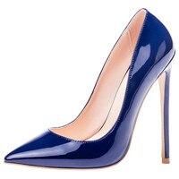 Mavirs Dress Pumps Classic Dark Blue Patent Leather High Heels 12cm Sexy Female Pointed Toe Luxury