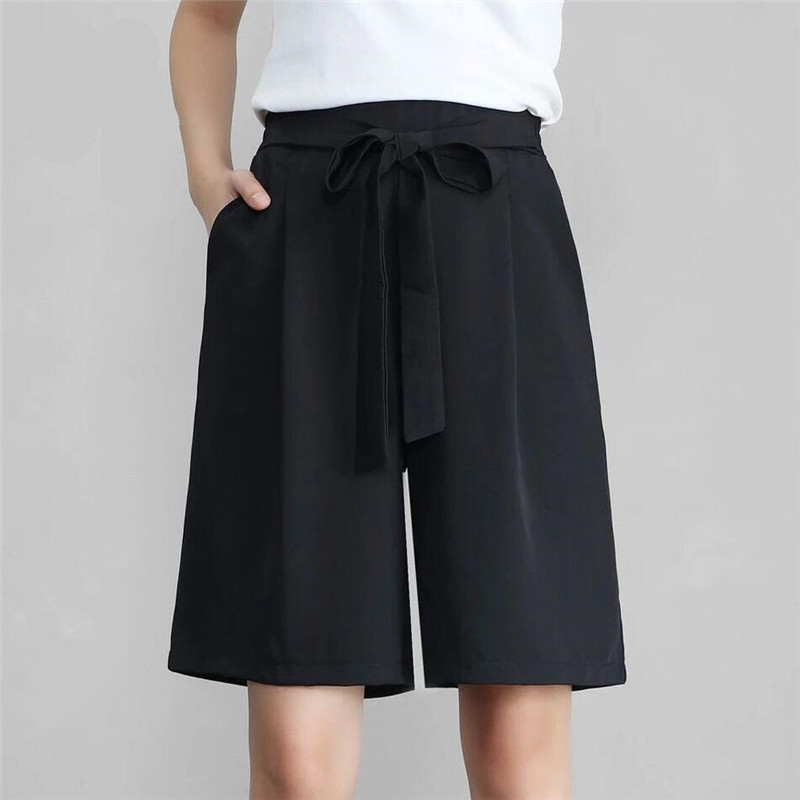 Plus Size 7XL Summer Wide Leg Pants Women Black High Waist Knee Length Pants Loose Culottes Office Lady Formal Pants Femininos