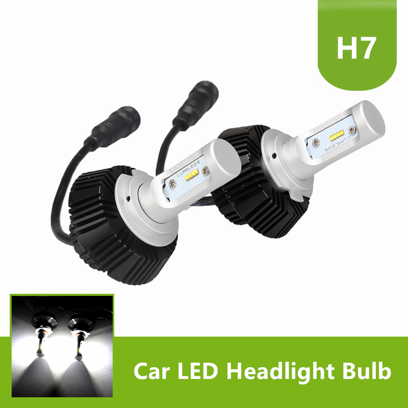 1Pair H7 LED Headlight Conversion Driving Lamp Bulbs 6500K Cool White 50W 8000LM 1 set h7 60w 8000lm tri color led headlight csp chips golden yellow white 3000k 4300k 6000k driving fog rainy snowy lamp bulbs
