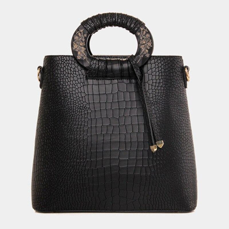 ФОТО Design Women Handbag Wood Handle Office Tote Bags Crocodile Embossed Women Messenger Bag High Quality Large Women Bags European