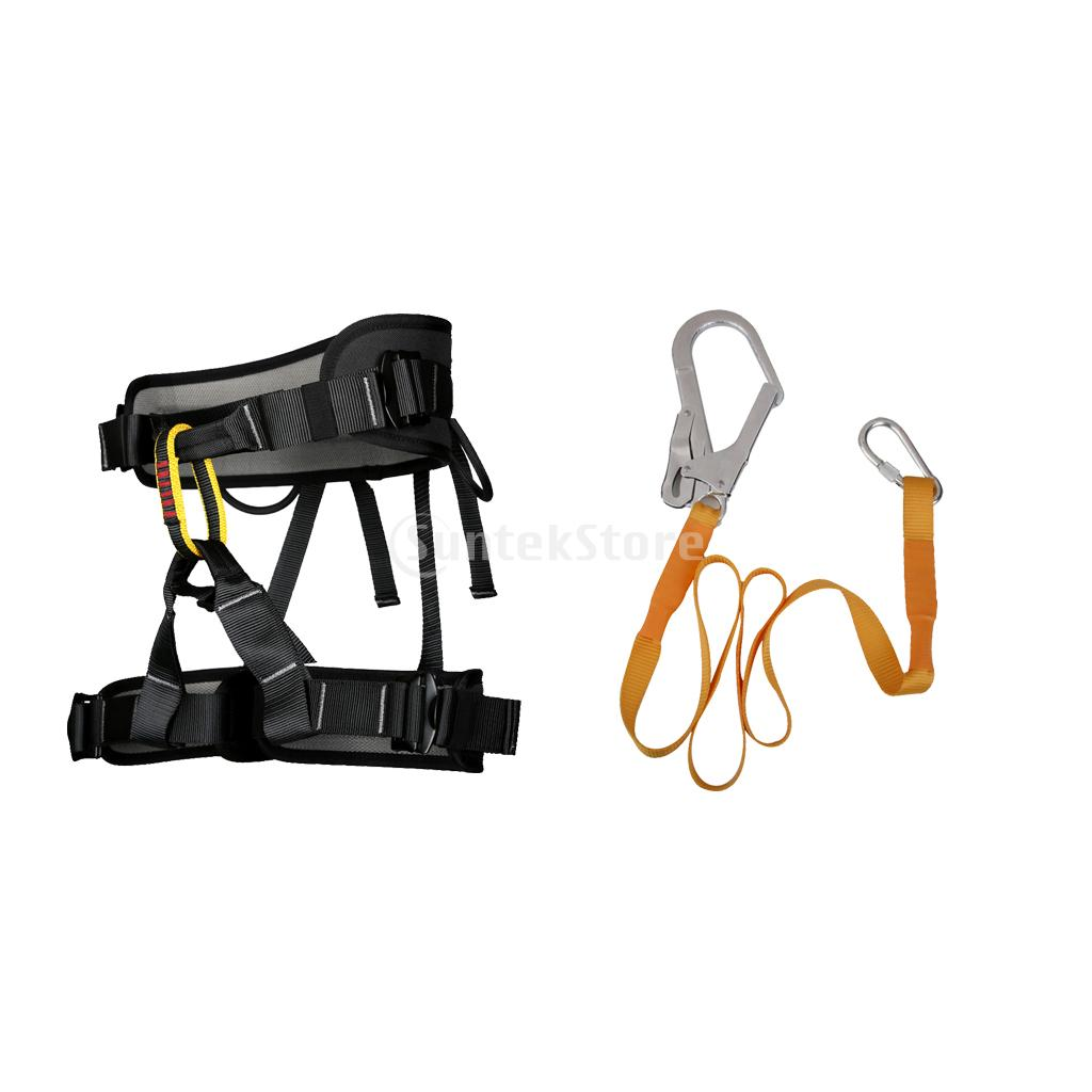 Heavy Duty Professional Rock Tree Climbing Sitting Harness Bust belt with Safety Belt Lanyard 22KN Carabiner Rappel Rescue Equip rocotactical basketweave police duty belt web duty belt with loop liner