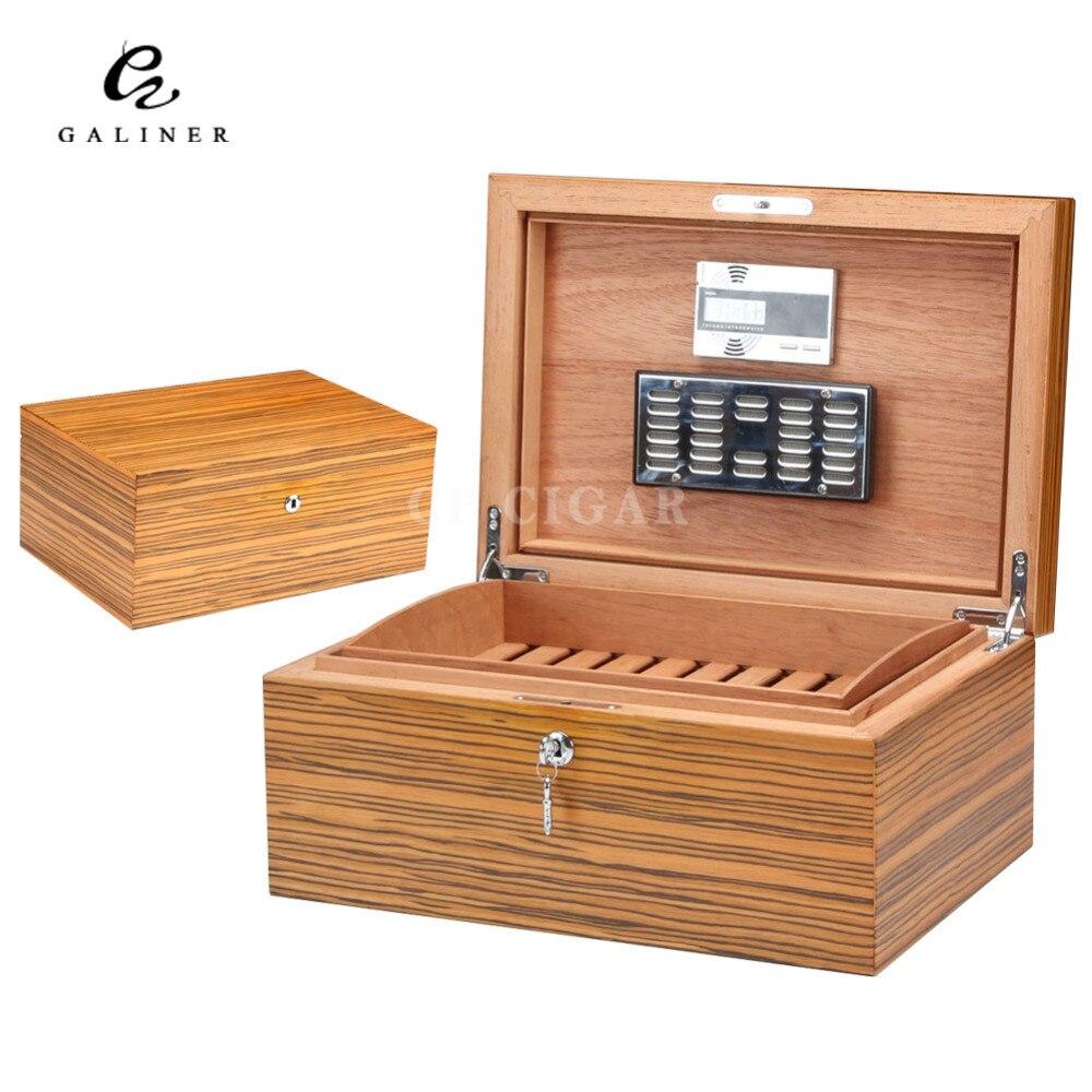 Humidificateur de boîte de voyage de cigare en bois de cèdre espagnol de Grain de zèbre de GALINER pour les cigares de COHIBA réglés avec l'humidificateur électronique d'hygromètre