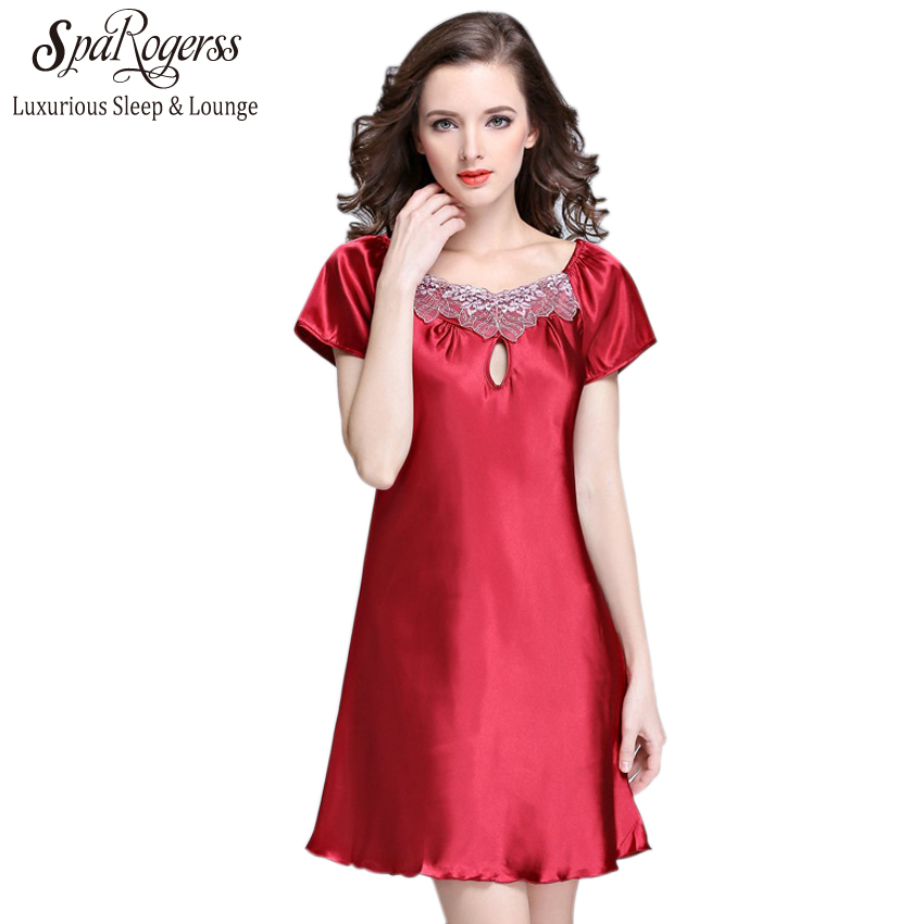 SpaRogerss Silky Women Nightgowns Summer Faux Silk Ladies Sleep Lounge For  Home Suit 2018 Female Satin Dressing Gown Woman SQ022 c718ebe9a