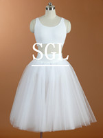 Free Shipping Retail White Ballet Half Long Tutu Skirt With Pants Child Adult Size 5 Layers