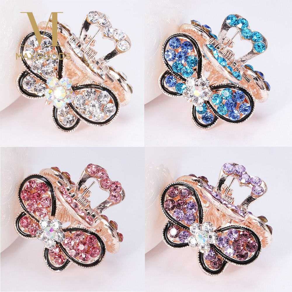 Antique Butterfly Crystal Hair Slides Pink